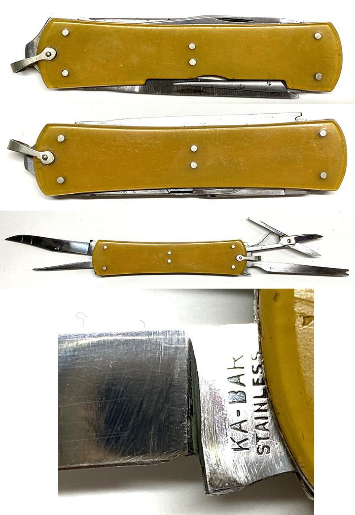 KA BAR STAINLESS FLY FISHERMAN KNIFE W/YELLOW BOLSTERS